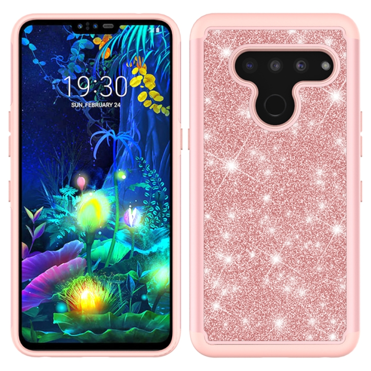 For LG V50 ThinQ 5G Glitter Powder Contrast Skin Shockproof Silicone + PC Protective Case(Rose Gold)
