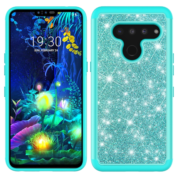 For LG V50 ThinQ 5G Glitter Powder Contrast Skin Shockproof Silicone + PC Protective Case(Green)