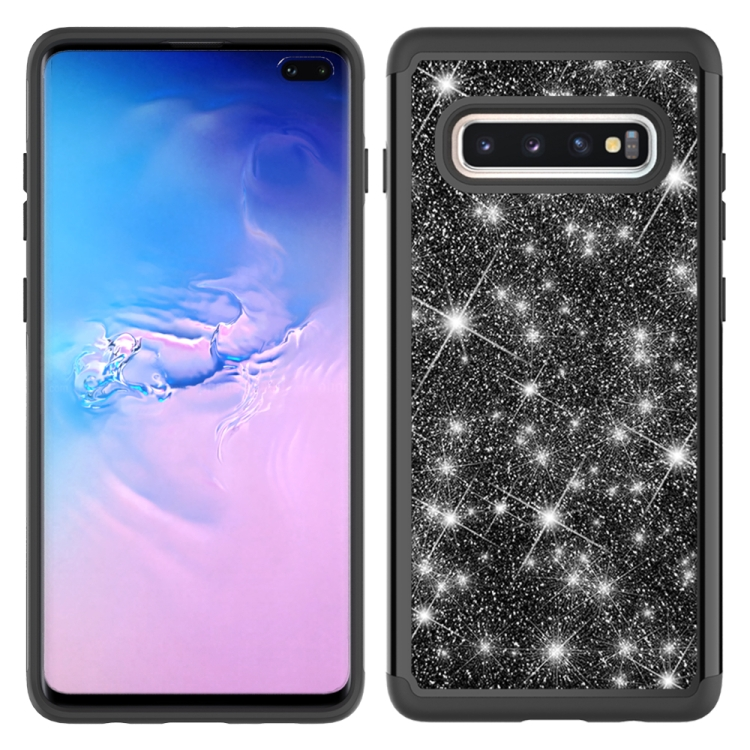 For Samsung Galaxy S10+ Glitter Powder Contrast Skin Shockproof Silicone + PC Protective Case(Black)