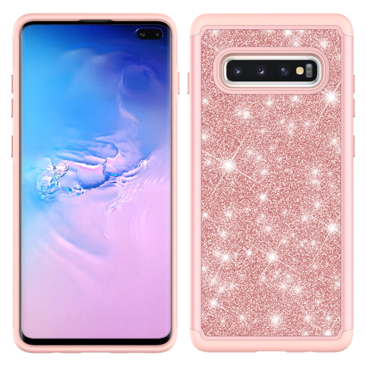 For Samsung Galaxy S10+ Glitter Powder Contrast Skin Shockproof Silicone + PC Protective Case(Rose Gold)