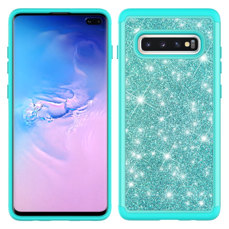 For Samsung Galaxy S10+ Glitter Powder Contrast Skin Shockproof Silicone + PC Protective Case(Green)
