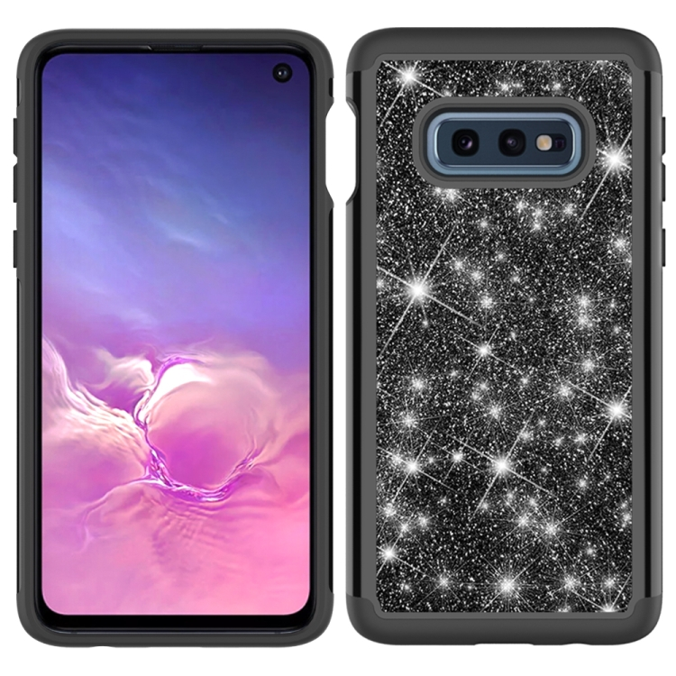 For Samsung Galaxy S10e Glitter Powder Contrast Skin Shockproof Silicone + PC Protective Case(Black)
