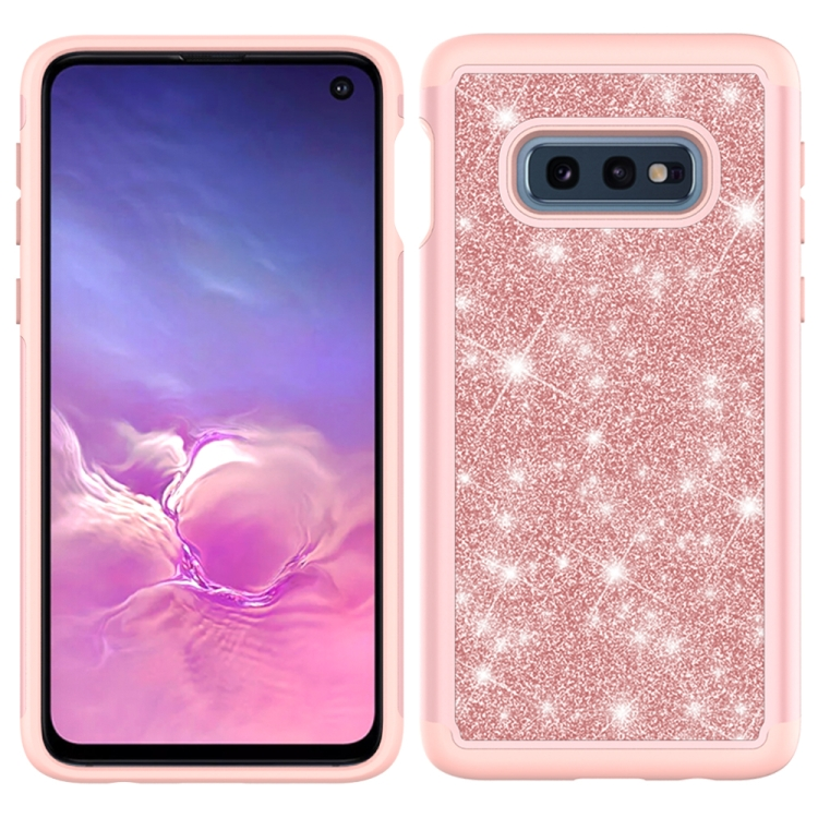 For Samsung Galaxy S10e Glitter Powder Contrast Skin Shockproof Silicone + PC Protective Case(Rose Gold)