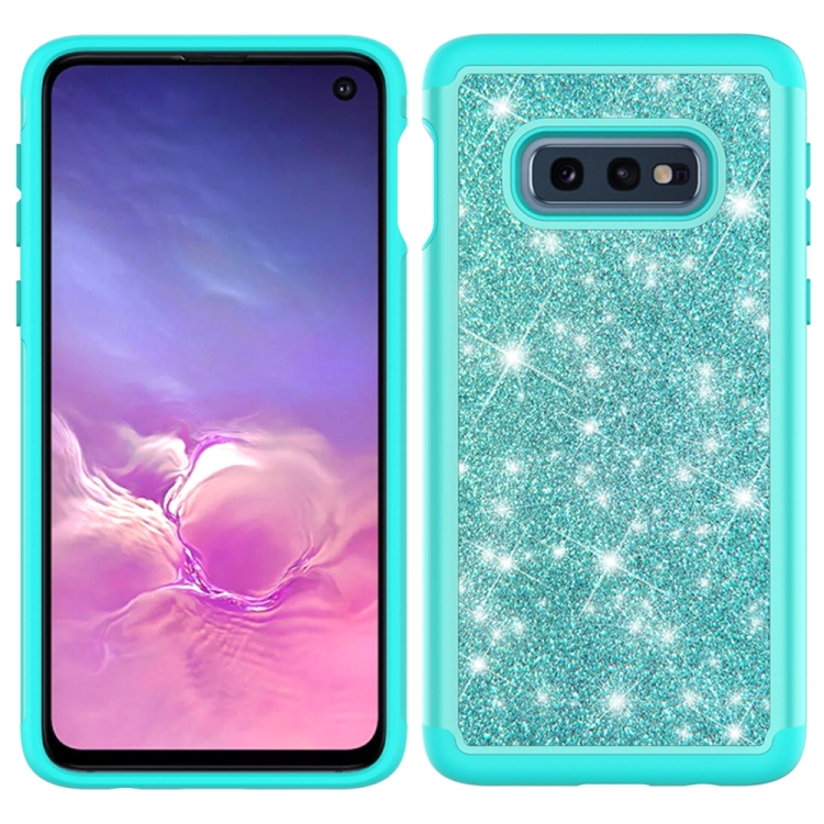 For Samsung Galaxy S10e Glitter Powder Contrast Skin Shockproof Silicone + PC Protective Case(Green)