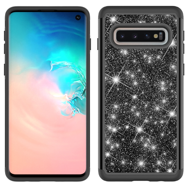 For Samsung Galaxy S10 Glitter Powder Contrast Skin Shockproof Silicone + PC Protective Case(Black)