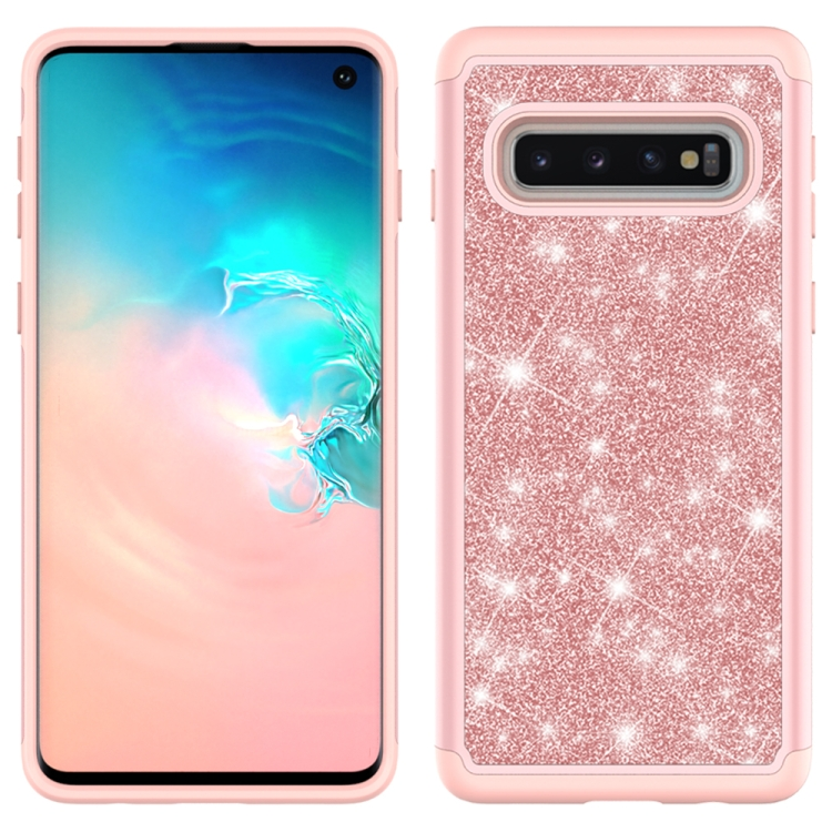 For Samsung Galaxy S10 Glitter Powder Contrast Skin Shockproof Silicone + PC Protective Case(Rose Gold)