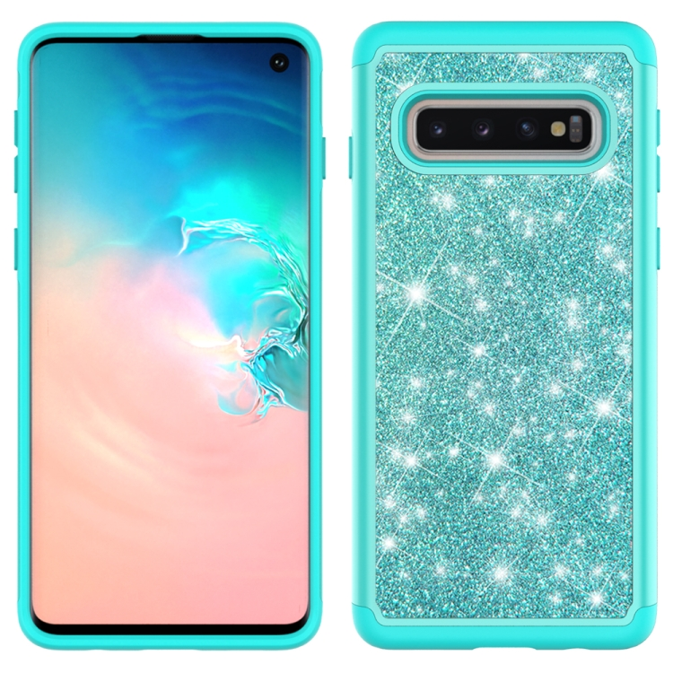 For Samsung Galaxy S10 Glitter Powder Contrast Skin Shockproof Silicone + PC Protective Case(Green)