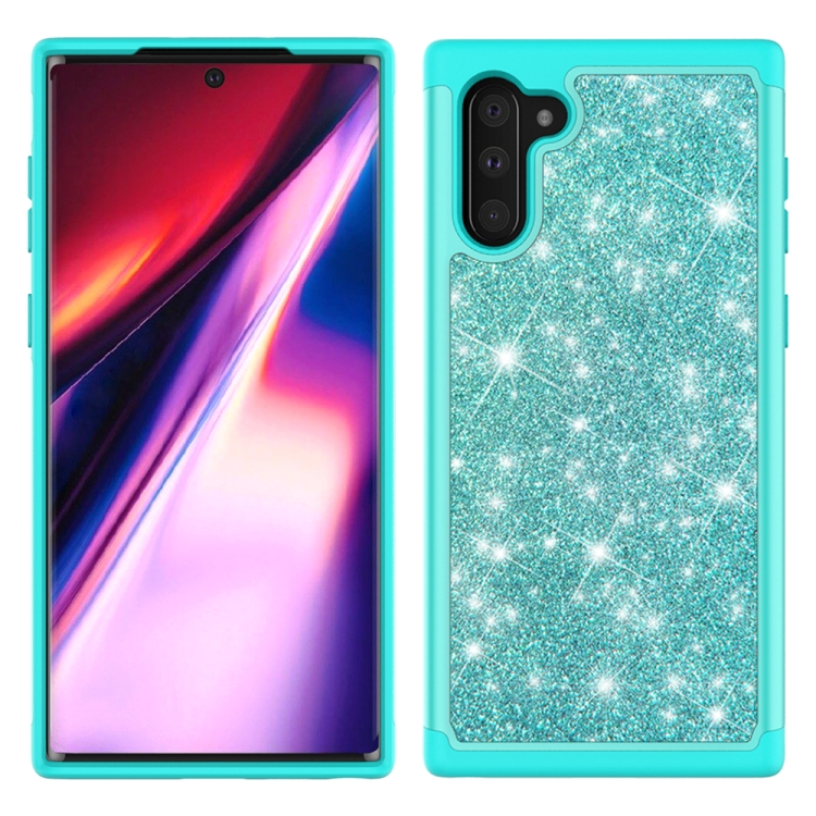 For Samsung Galaxy Note 10 Glitter Powder Contrast Skin Shockproof Silicone + PC Protective Case(Green)