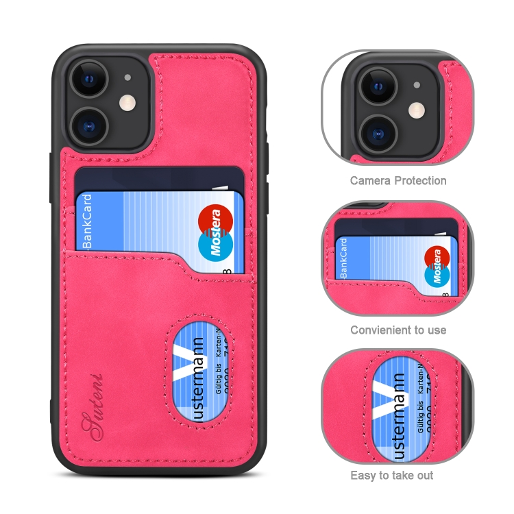 For iPhone 11 H09 TPU + PU Leather Anti-fall Protective Case with Card Slots(Rose Red)