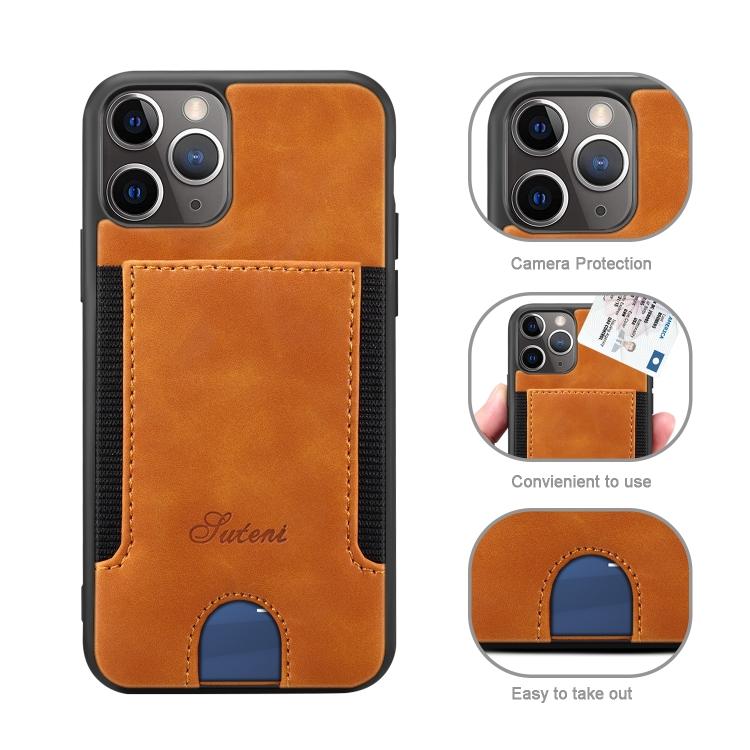 For iPhone 11 Pro Max H10 TPU + PU Leather Anti-fall Protective Case with Card Slot(Khaki)