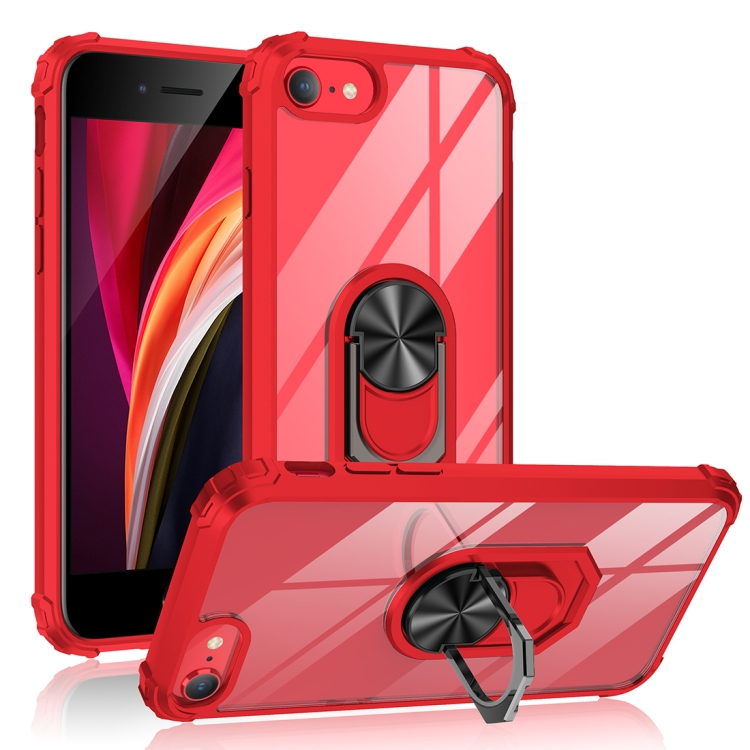 For iPhone SE 2020 / 8 / 7 / 6 Shockproof Transparent TPU + Acrylic Protective Case with Ring Holder(Red)