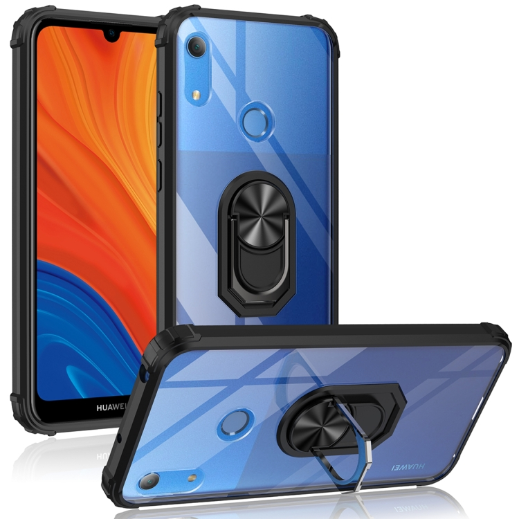 For Huawei Y6s (2019) Shockproof Transparent TPU + Acrylic Protective Case with Ring Holder(Black)