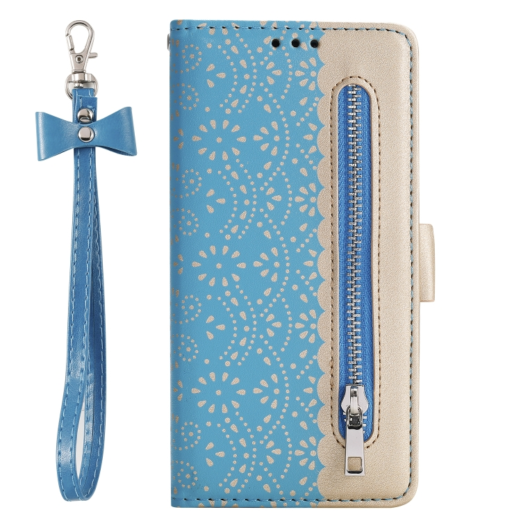 For Huawei P40   Lace Pattern Double Button Zipper Horizontal Flip Leather Case with Holder & Card Slots & Wallet(Blue)