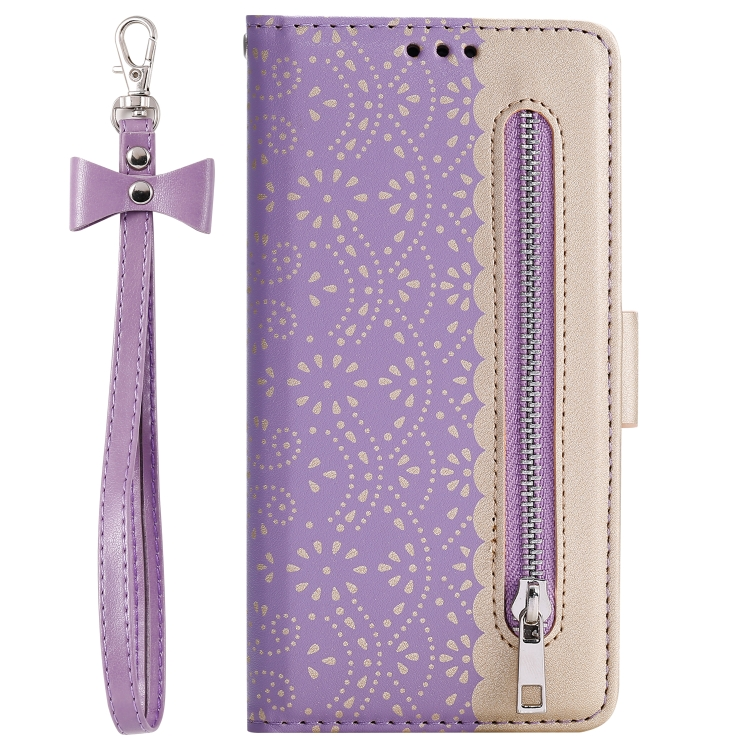 For iPhone SE 2020 / 8 / 7   Lace Pattern Double Button Zipper Horizontal Flip Leather Case with Holder & Card Slots & Wallet(Purple)