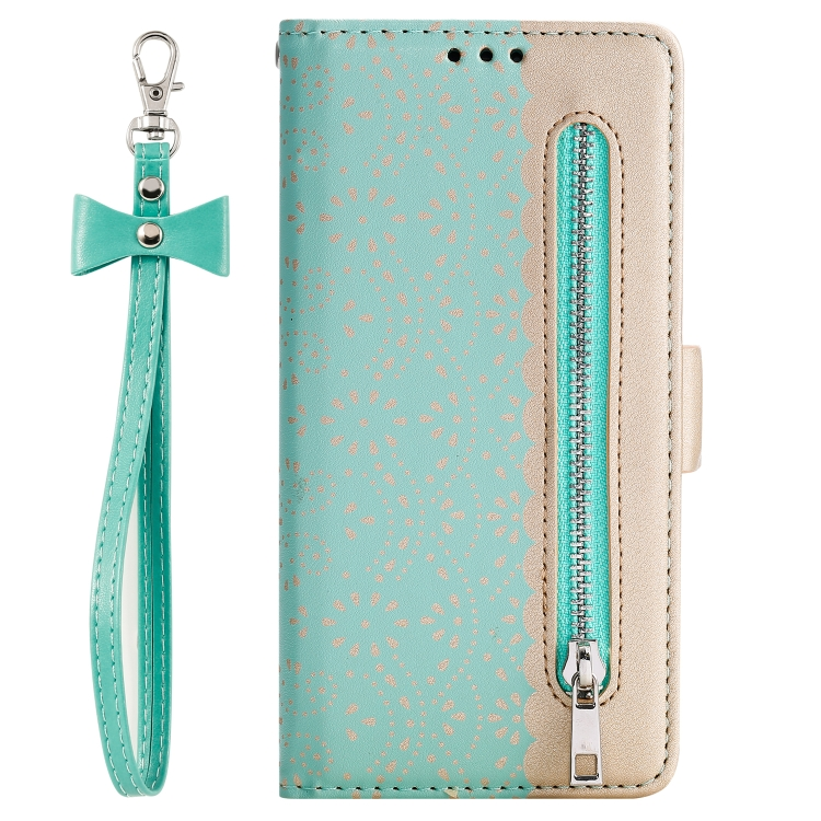 For iPhone SE 2020 / 8 / 7   Lace Pattern Double Button Zipper Horizontal Flip Leather Case with Holder & Card Slots & Wallet(Green)