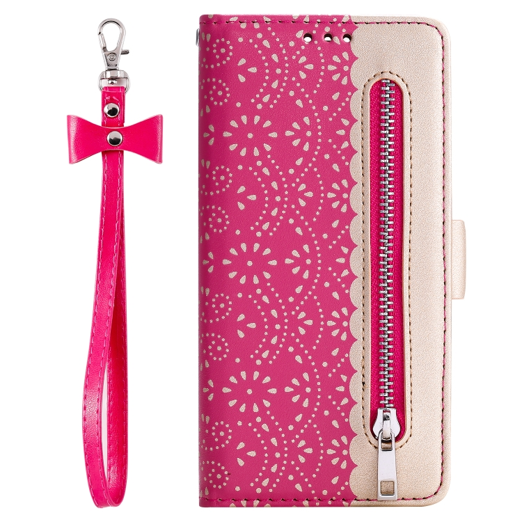 For iPhone SE 2020 / 8 / 7   Lace Pattern Double Button Zipper Horizontal Flip Leather Case with Holder & Card Slots & Wallet(Rose Red)