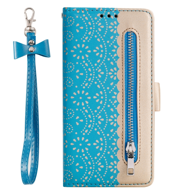 For iPhone SE 2020 / 8 / 7   Lace Pattern Double Button Zipper Horizontal Flip Leather Case with Holder & Card Slots & Wallet(Blue)