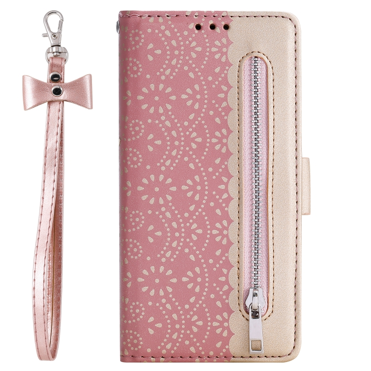 For Xiaomi Redmi 7A   Lace Pattern Double Button Zipper Horizontal Flip Leather Case with Holder & Card Slots & Wallet(Rose Gold)