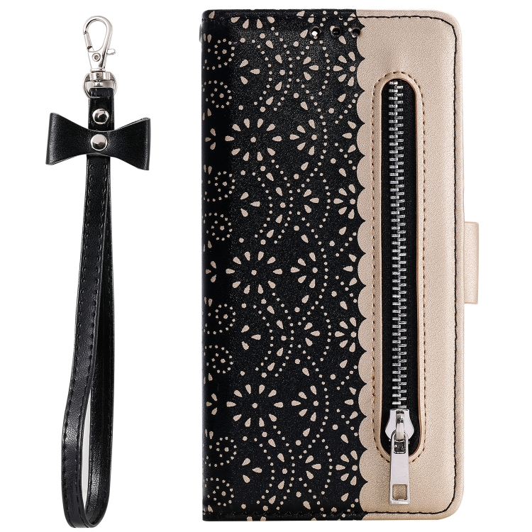 For Xiaomi Redmi Note 8 Pro   Lace Pattern Double Button Zipper Horizontal Flip Leather Case with Holder & Card Slots & Wallet(Black)