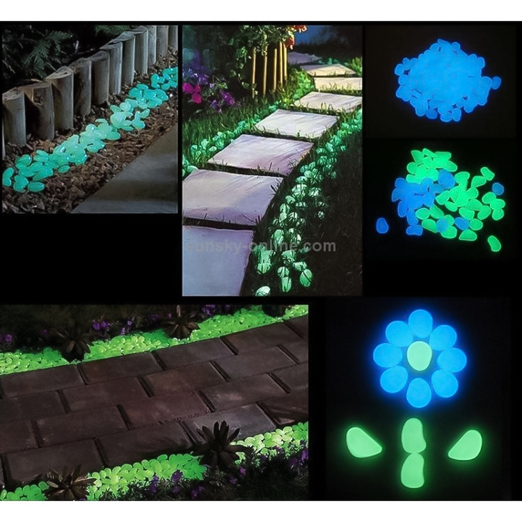 100pcs Luminous Stones Glow for Walkways Decor and Plants in Green Blue White