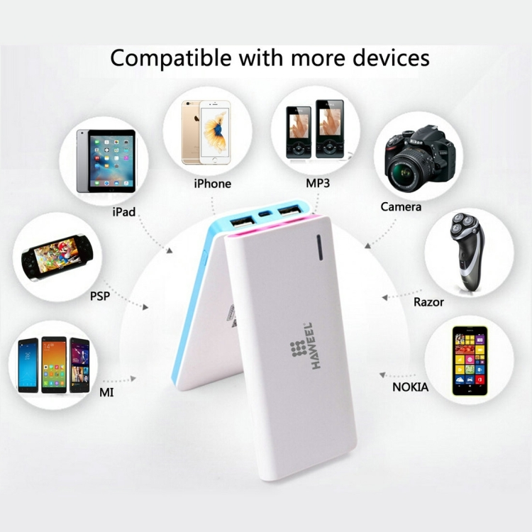 the iphone 6s sunsky haweel 5600mah dual usb power bank with 8 pin 13094