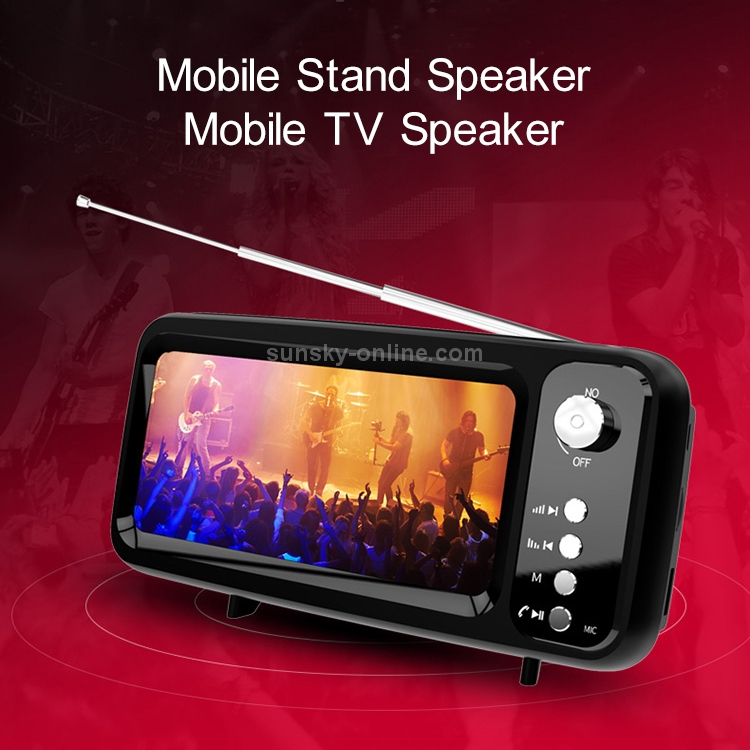 Sunsky Mb 8 Retro Tv Shaped Subwoofer Bluetooth Speaker With Mobile Phone Stand Function Supports Hands Free Calling Fm U Disk Tf Card Black