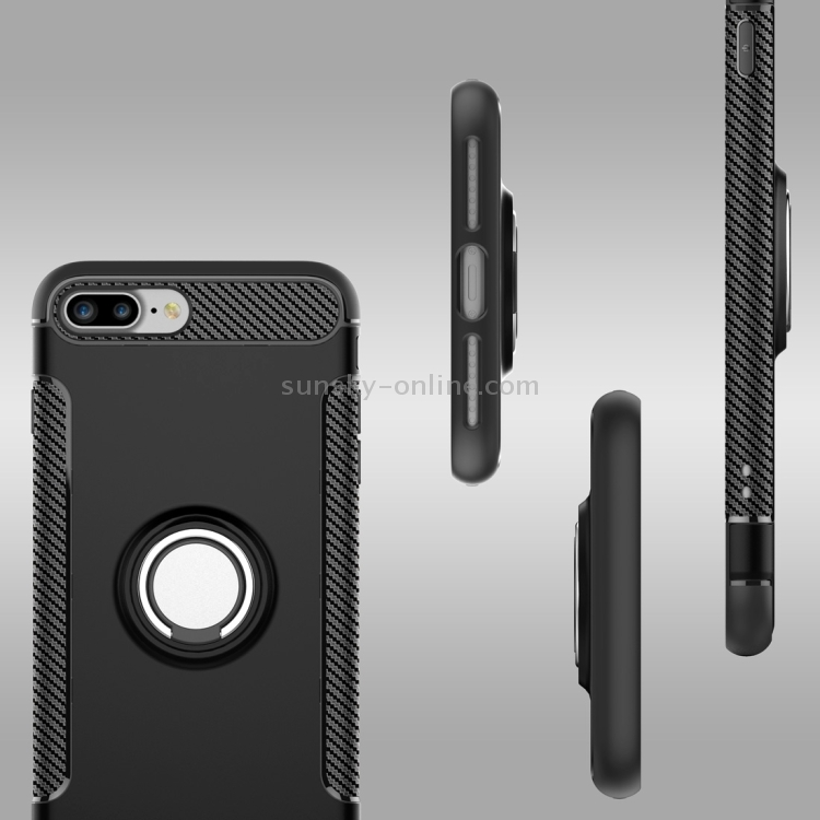 Фото For iPhone 8 Plus & 7 Plus   Magnetic 360 Degree Rotation Ring Armor Protective Case(Black). Купить в РФ