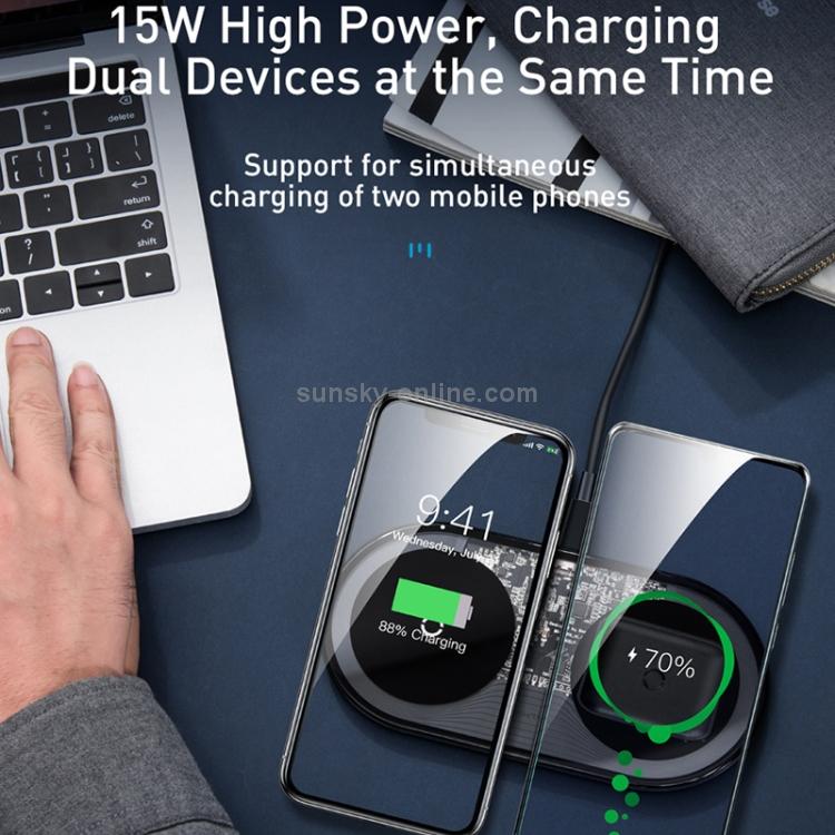 SUNSKY - Baseus WXJK-C01 Simple 2 in 1 15W Pro Edition Qi Standard ...