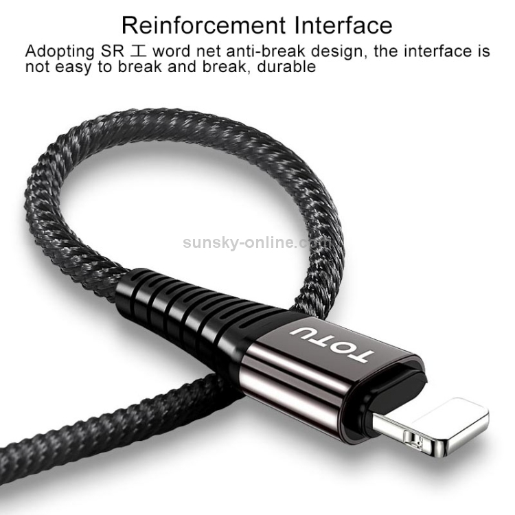 SUNSKY - TOTUDESIGN Color Series 1.2m Nylon Braided Cord 2.4A 3 in 1 USB A  + Type-C to 8 Pin Data Sync Charge Cable