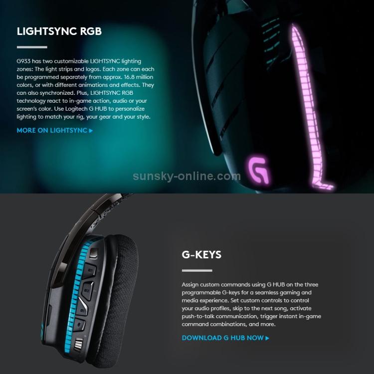 SUNSKY - Logitech G933 WIRELESS 7 1 RGB GAMING HEADSET(Black)