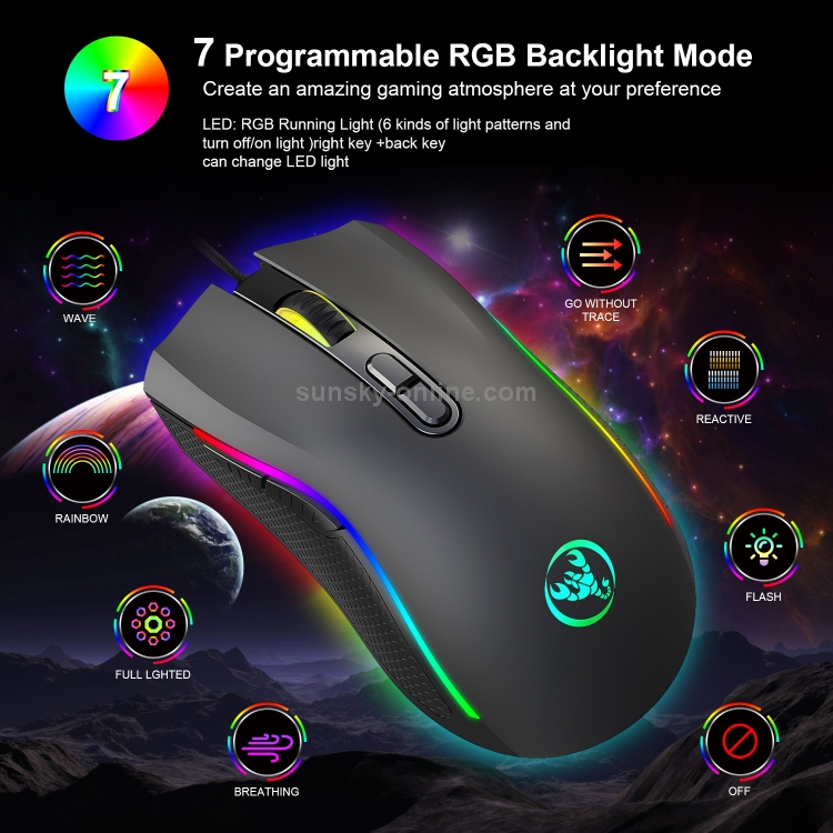 A866 USB 6400DPI Four-Speed Adjustable RGB Light-Emitting Wired Game Optical Mouse Cable Length 1.5m Durable