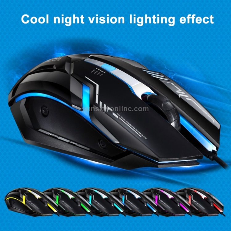 Length: 1.45m Computer Products V12 USB 2400DPI Four-Speed Adjustable Wired Optical Gaming Mouse with LED Breathing Light Keyboard /& Mice Products Black Color : Black