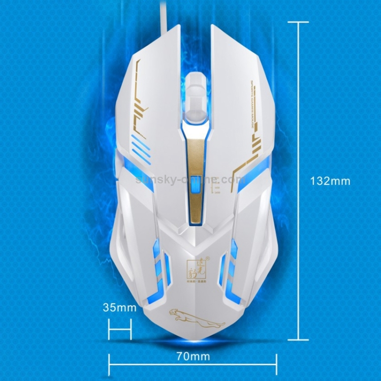 Color : White V17 USB 2400DPI Four-Speed Adjustable Line Pattern Wired Optical Gaming Mouse with LED Breathing Light Length 1.45m