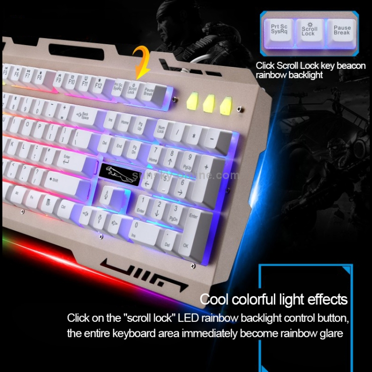 Gaming ZGB G700 104 Keys USB Wired Mechanical Feel RGB Backlight Metal Panel Suspension Gaming Keyboard with Phone Holder Black Color : Gold