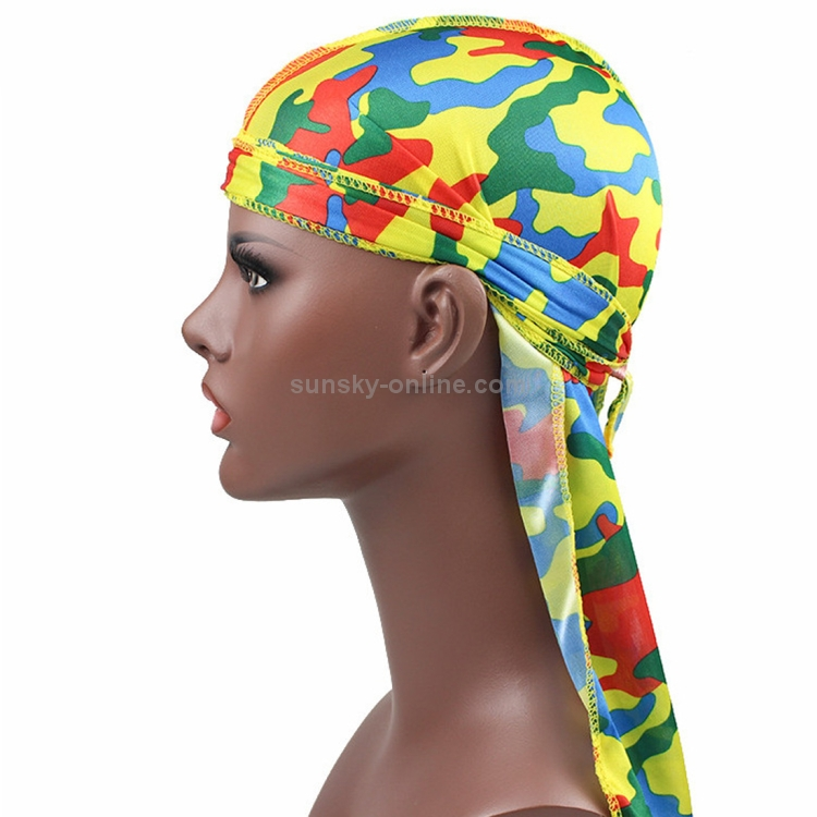 1e05eded633 SUNSKY - w-1 Camouflage Printing Long-tailed Pirate Hat Turban Cap