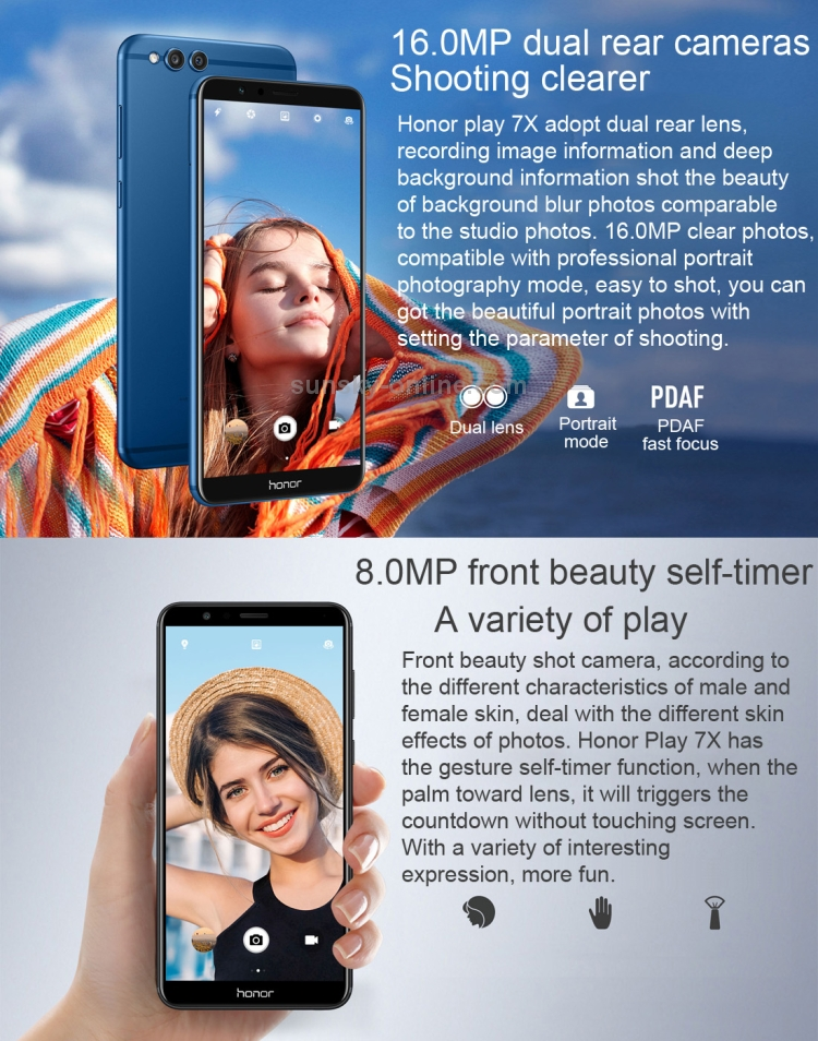 SUNSKY - Huawei Honor 7X BND-AL10, 4GB+32GB, China Version