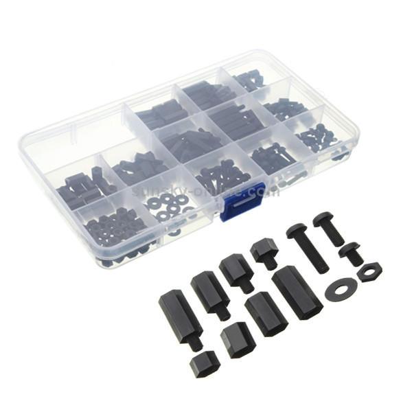 300x M3 Screw Hex Screw Nut Nylon PCB Standoff Assortment Kit//Black