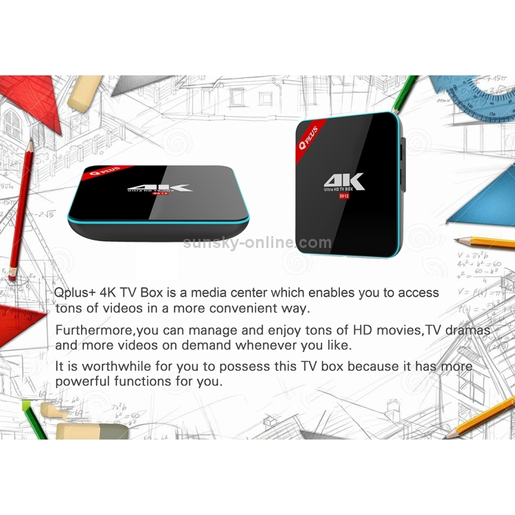 SUNSKY - Qplus 4K Ultra HD Smart Android 6 0 S912 Octa-core 2 0GHz