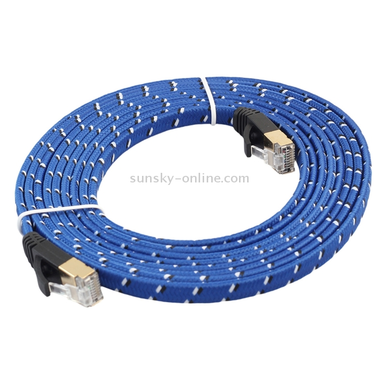 Color : Color7 Networking Accessories 1m Gold Plated Head CAT7 High Speed 10Gbps Ultra-Thin Flat Ethernet Network LAN Cable