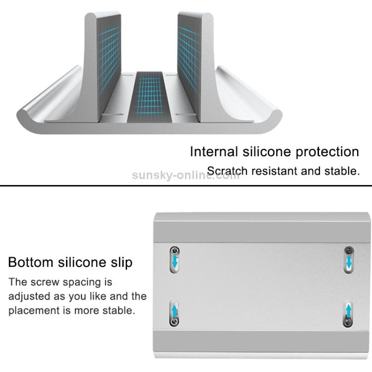 17.5mm Slot Width Universal Portable Aluminum Alloy Single Slot Laptop Vertical Radiating Storage Stand Base