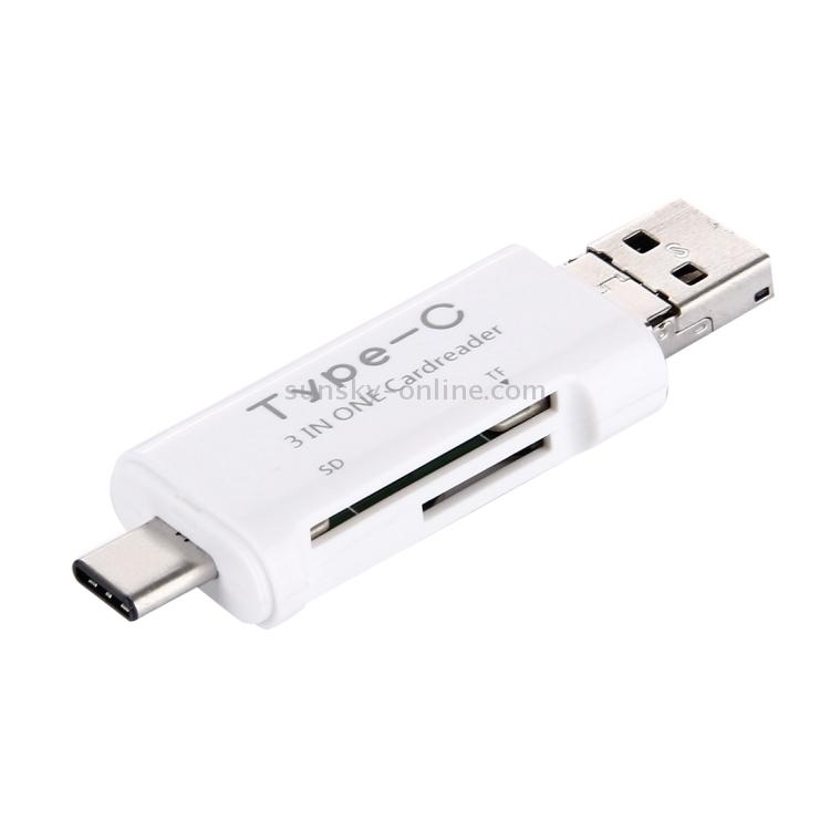 Card Reader Adapter HC for MacBook//Google Chromebook//Nokia N1 // Letv Car Reader WHF USB-C//Type-C to SD White