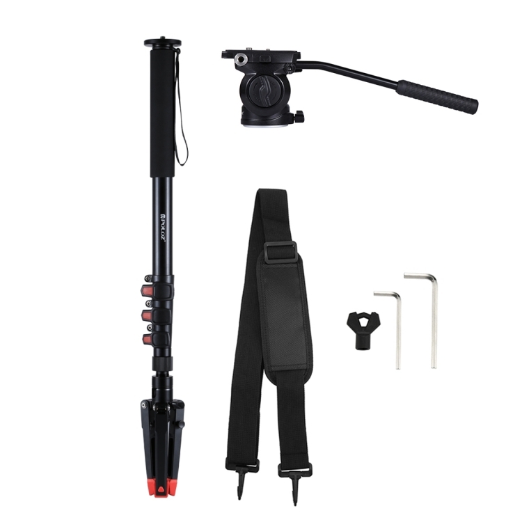 Camera Monopod Four-Section Telescoping Aluminum-Magnesium Alloy Self-Standing Monopod Fluid Head with Support Base Bracket