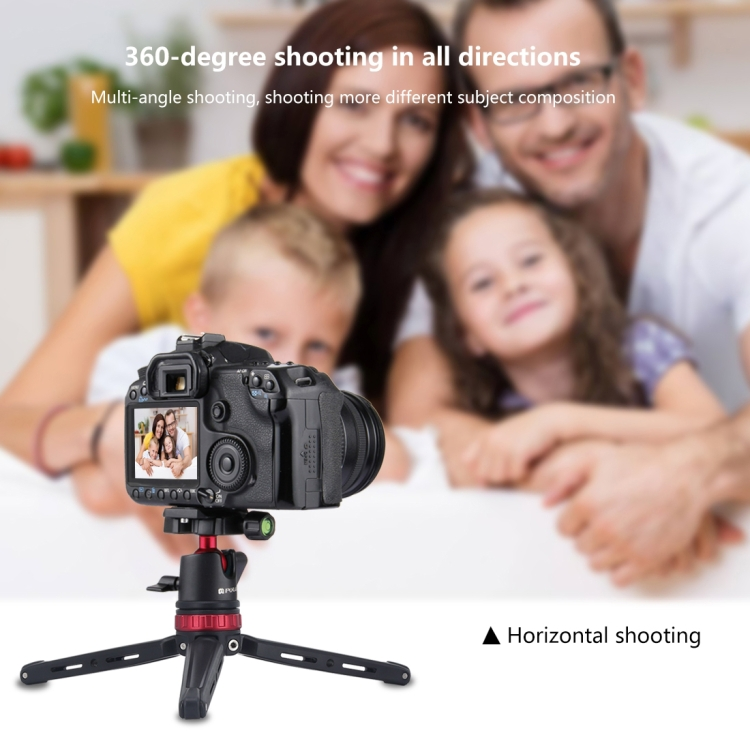 PULUZ Pocket Mini Adjustable Metal Desktop Tripod Mount with 360 Degree Ball Head for DSLR /& Digital Cameras Adjustable Height 11-20.2cm Red