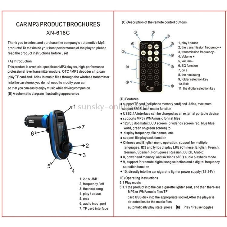 SUNSKY - Car MP3 Transmitter with Dual USB Car Charger, Support