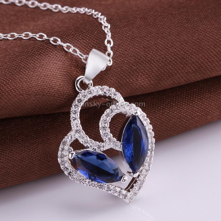 Fashionable Zircon Encrusted Silver Plated Heart Shape