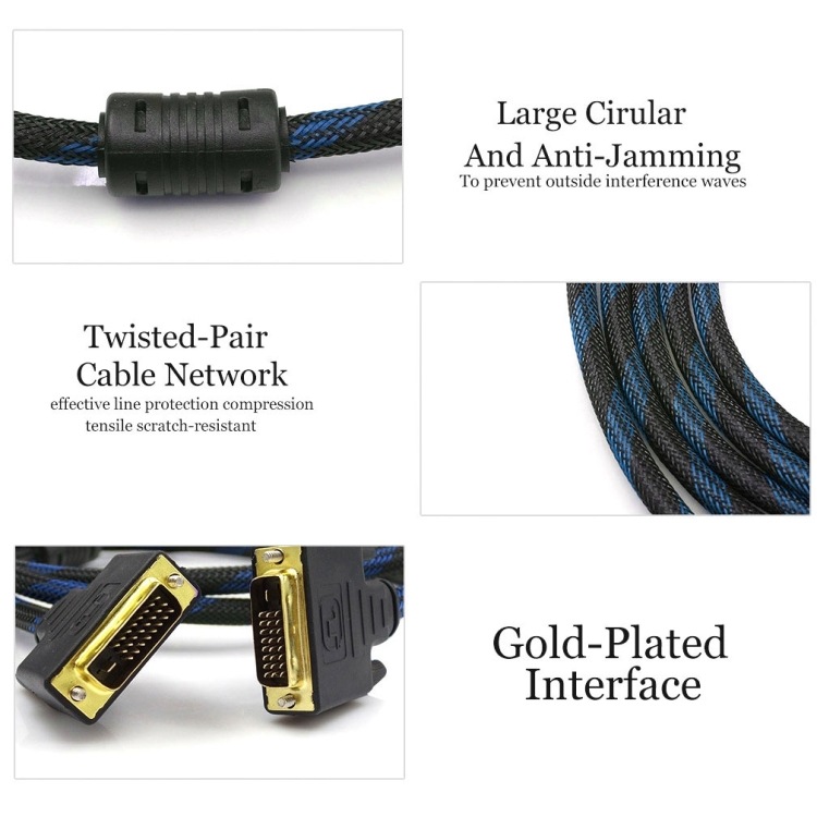 Chaomin Nylon Netting Style DVI-I Dual Link 24+5 Pin Male to Male M//M Video Cable 5m Length