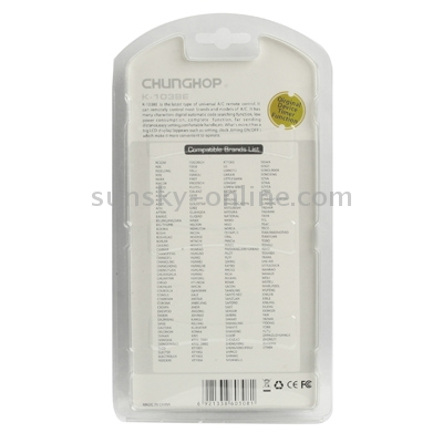 Sunsky chunghop universal a c remote control k 1038e for 1000 in 1 universal a c remote code table