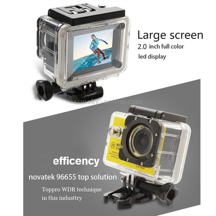 Color : Silver 30m Waterproof Durable CAOMING SJ7000 Full HD 1080P 2.0 inch LCD Screen Novatek 96655 WiFi Sports Camcorder Camera with Waterproof Case 170 Degrees HD Wide-Angle Lens