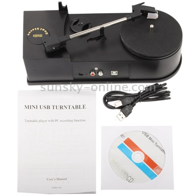 SUNSKY - EC008B, USB Mini Phonograph / Turntable / Vinyl Turntables