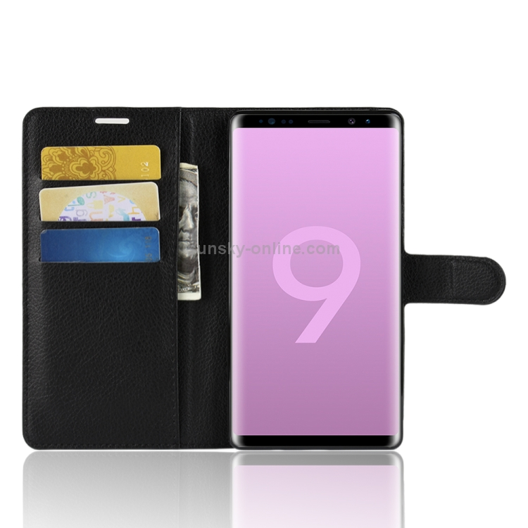 Litchi Texture Horizontal Flip Leather Case for Galaxy Note 9, with Wallet & Holder & Card Slots(Black)